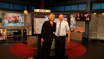 Carley Garner at CNBC Mad Money studio with Jim Cramer
